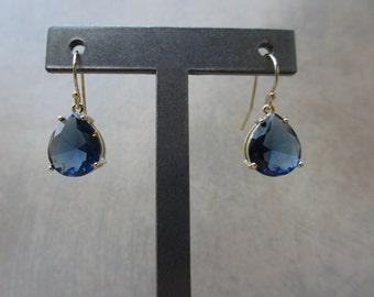 Sapphire Blue Earrings, Gold Earrings, Teardrop, Dark Blue, Blue Earrings, Irisjewelrydesign