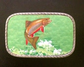 Fish Belt Buckle.  Interchangable. Mens belt buckle. Womens belt buckle! Pewter. Recycled rubber snap belts available too.  Great art piece.