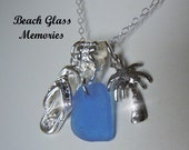 Sea Glass Necklace  Flip Flop Palm Tree Beach Glass Necklace  Beach Glass Jewelry