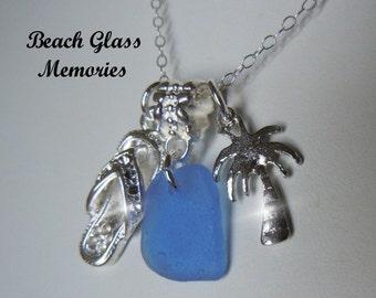 Sea Glass Necklace  Flip Flop Palm Tree Beach Glass Necklace  Beach Glass Jewelry