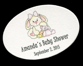 50 Personalized Baby Girl Baby Shower Favor Tags - Girl Baby Shower Tags - Baby Shower Tags - Baby Shower Labels - Bunny Pink Teddy Oval