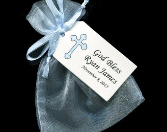 Boys Baptism Favor Bags - Christening Favor - Favor Tag - Favor Bag - Candy Bag - Personalized Tag - Blue Organza Bag - Blue Cross