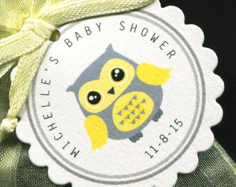 50 Personalized Baby Shower Favor Tags - Baby Shower Favor Tag - Gender Neutral - Favor Tags - Owl Baby Shower -Yellow And Gray Owl