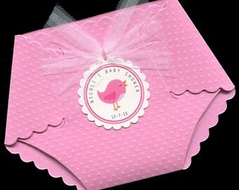 20 Personalized Baby Girl Baby Shower Invitations - Baby Girl Shower Invitations - Diaper Invitations - Pink - Bird
