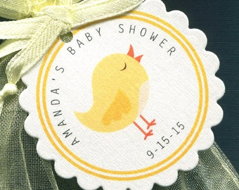 Personalized Baby Shower Favor Tags - Baby Shower Tags - Yellow - Bird - Gender Neutral - 25