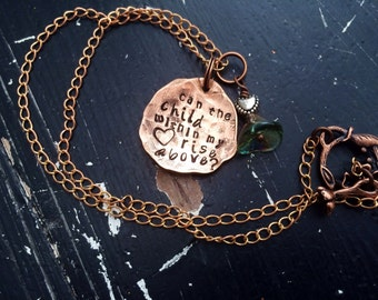 Rustic hammered Copper necklace ~ Fleetwood Mac ~ metal stamped ~ stevie nicks style ~ landslcide ~ can the child within my heart rise above