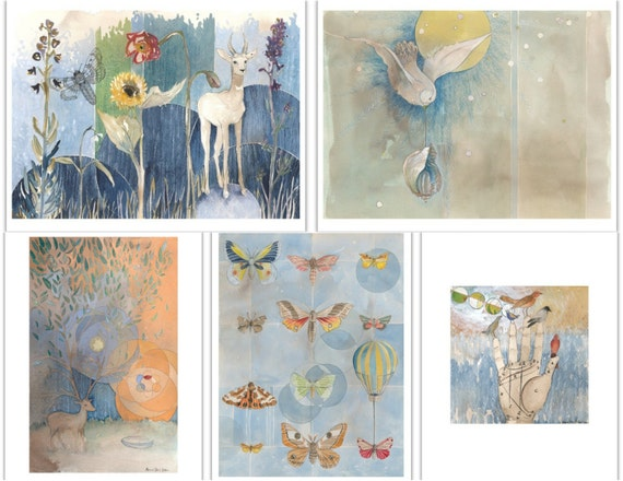 In the Sky Greeting Card Set with Envelopes - Contemplative - Bird Art - Watercolor Cards - Free Shipping