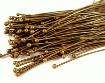 50 Ball Headpins Antique Bronze 2.25 inch Plated Brass (57mm), 20-21 Gauge 1.5mm Ball - 50 pc - F4130BHP-AB50
