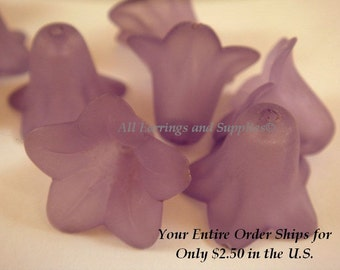 10 Purple Flower Beads Acrylic Petunia Frosted Bead 17x12mm - 10 pc - A1043FL-PP10