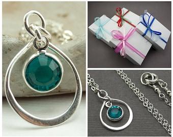 Birthstone Jewelry December Birthstone Necklace - Mothers Day Birthstone Necklace Blue Zircon Necklace - December Birthday Infinity Necklace
