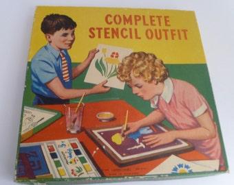 Complete Stencil Outfit, Midcentury Art kit, Children's stencils, Spear Games, English toy, stencil kit, kids stencils, kids game