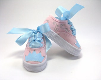 Princess Shoes, Crown or Tiara Pink Sneakers, Princess Theme Birthday Party, Hand Painted for Baby or Toddler
