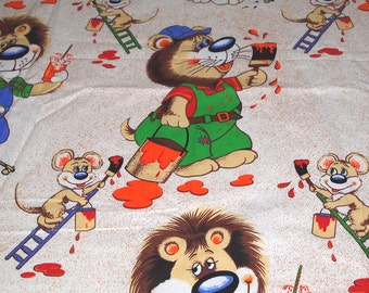 vintage 80s cotton print fabric, featuring large scale painting mouse and lion print, 1 yard, 4 available priced PER YARD