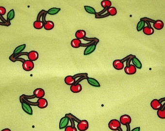 SALE vintage 70s novelty fabric, featuring cute cherry print, 1 yard, 2 available priced PER YARD