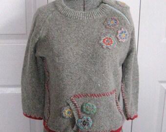 Folk Sweater . Embroidered Folk Sweater . embroidered sweater