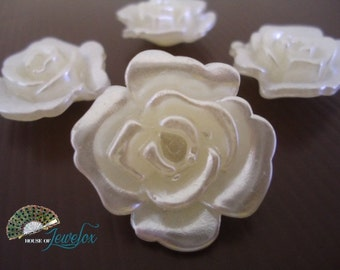 White Pearl Flower Beads, 30mm  - 6x