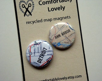 Recycled Map Magnet Set