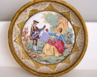 Italian Florentine Round Picture Frame with Gragonard Courting Couple