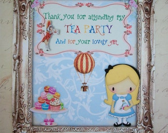 ALICE in WONDERLAND - Thank you - Tea Party - Hot Air Balloon - Macarons - Set of 8 notecards with envelopes - ALTY 9897