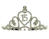 SWEET 15 or 16 TIARA-- Sale- was 30.00 rhinestone hair accessories - birthday, quinceanera, photo shoot, wedding, princess hair accessories