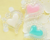 6 pcs AB Bubbly Heart Cabochon (40mm) IK141