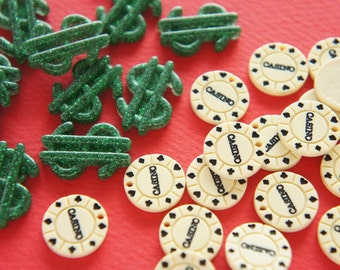 8 pcs Dollar Mark and Casino Coin Cabochons DR456