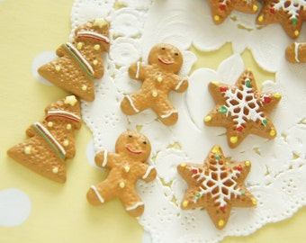 9 pcs Gingerbread Man Cookie Cabochon (15mm-20mm) CD489