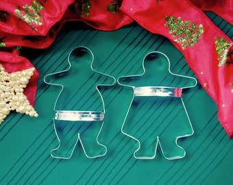 """Gingerbread Cookie Cutters Boy And Girl Large Primitive 7"""" Set of 2 With Custom Handles"""