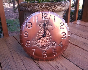 Pineapple Copper Wall Clock Handmade By West Tinworks