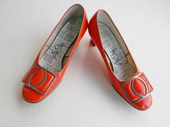 SALE Air Step Orange Patent Leather Buckle Pumps Sz 5 1/2