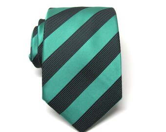 Mens Tie Green and Black Stripes Necktie With Matching Pocket Square Option