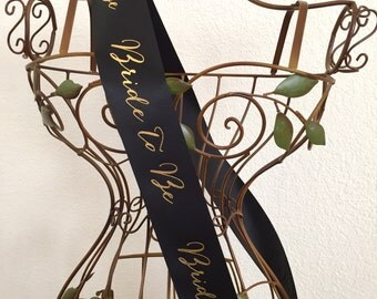 """Signature Script Bride to Be Sash 2.5"""" - Black or White with Gold Print"""