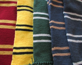 Hand Knit Harry Potter Hogwarts House scarf, Choose from Gryffindor, Huffelpuff, Ravenclaw or Slytherin