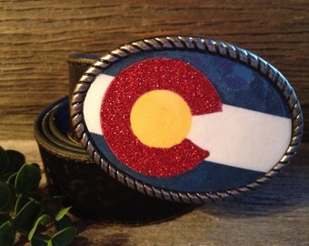 Colorado Belt Buckle w/Genuine Leather Belt