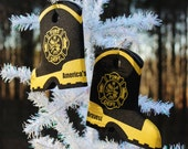 Fire department dept boot wedding beer can bottle cooler  fireman firefighter stocking stuffer ornament