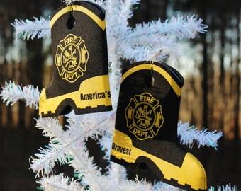 Fire department dept boot wedding beer can bottle cooler  fireman firefighter stocking stuffer ornament