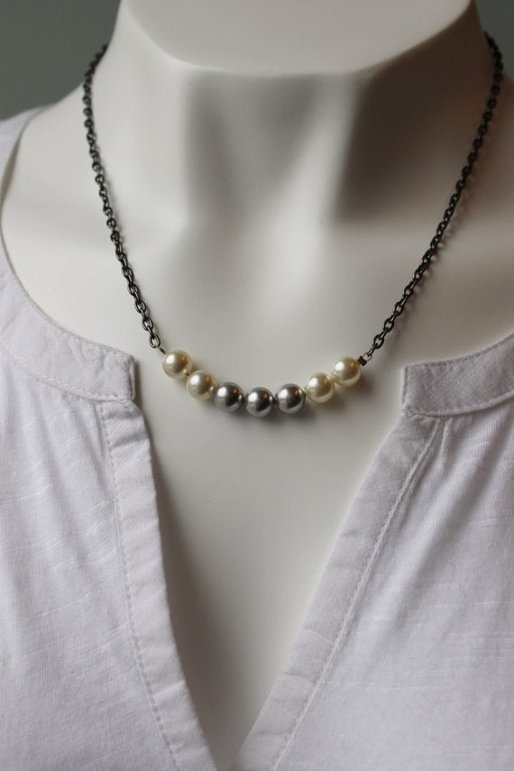 Pearl Necklace, Cream and Grey, Gunmetal Chain, Swarovski Pearls