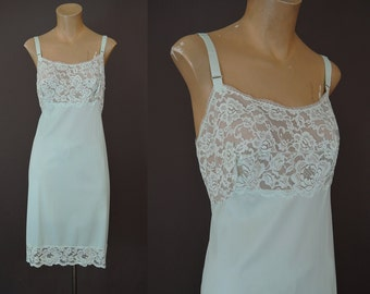 Vintage 1960s Aqua Slip, Nylon Full Slip with Lace Bodice - fits 38 Inch Bust