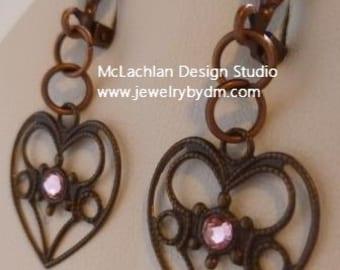 Vintage Heart with Pink Crystal Earrings
