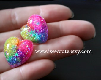 Rainbow Hearts Post Earrings,  Tippy Glitter Heart Earrings, Heart Stud Earrings, Cute Glitter Heart Resin Earrings Handmade by isewcute