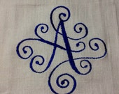 Initial A  Embroidered Kitchen Saying  Huck Towel
