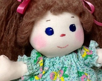 Fabric Doll, Sew Sweet Doll, Fabric, Machine Washable, Child Friendly, 13 inches tall, Ready to Ship