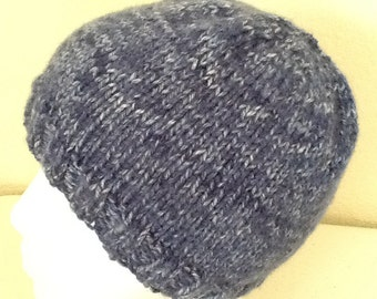 Hand Knitted Hat Denim  Blue  Sized Child to Adult