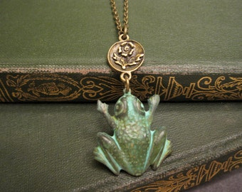 Green Frog Necklace, Woodland Animal, Whimsical, Kiss a Frog, Verdigris Green, Amphibian, Jewelry for Teens, Flower, For Her