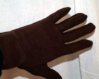 Vintage Gloves brown with black stitching