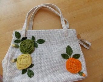 Vintage Woven Handbag With Velvet Flower Adornment