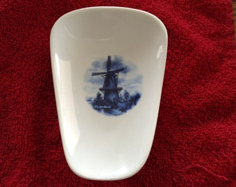 """Ceramic Spoon Rest with Blue Windmill   5"""" Long and 3 1/2 Inches Wide at Top of Spoon"""