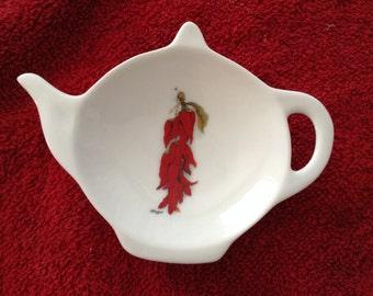 "Ceramic Tea Bag Holder  Chili pepper 4.5 """