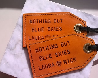 His and Hers, Set of Two - Personalized - Leather Luggage Tags - Nothing But Blue Skies - With privacy flap on reverse side