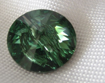 Iridescent Erinite Green Swarovski Crystal BUTTON
